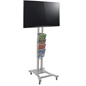 Silver Plasma TV Stand with 4 Clear Literature Pockets for Retail Stores