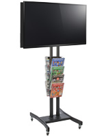 Double Sided TV Stand with 8 Clear Literature Pockets for Trade Shows