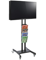 Double Sided TV Stand with 4 Clear Literature Pockets for Periodicals
