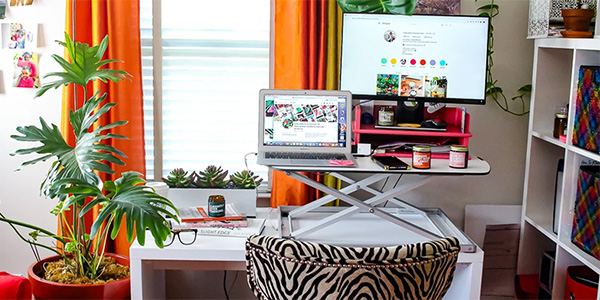 Ultimate home office with height-adjustable work surface