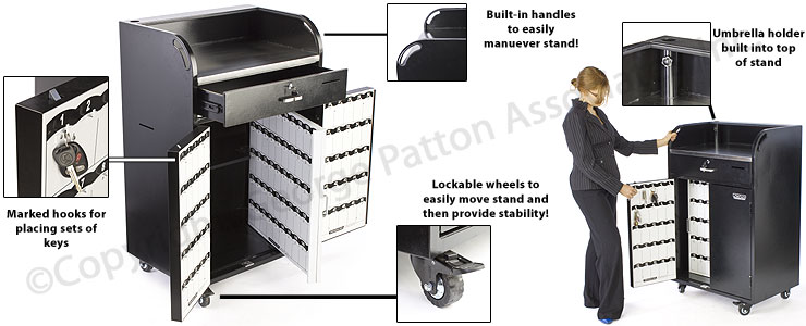 Locking Valet Station On Wheels | Black Steel w/150 Key Slots