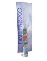 Portable Banner Stand with Literature Rack on MDF Base
