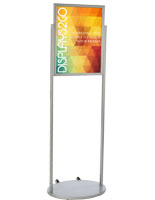 Silver 18 x 24 Mobile Poster Stand with PVC Backer
