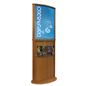 Golden Oak Poster Stand with Top Insert Slot