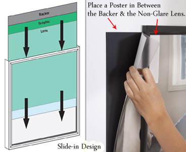 this 18 x 24 poster frame that accommodates 18x24 signs is simple to set up and refresh to insert new graphics simply pull out the backer and non glare
