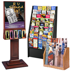 Wooden brochure displays