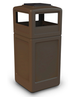 Brown Trash Receptacle with Ashtray