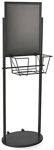 Black 18 x 24 Mobile Poster & Literature Stand with Wire Basket