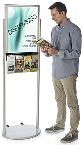 18 x 24 Silver Mobile Poster Stand with 4 Leaflet Pockets with Rolling Base
