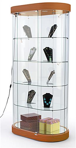 oval glass display case
