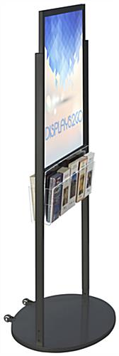 Black 22 x 28 Mobile Poster Display with 10 Literature Pockets for Graphics