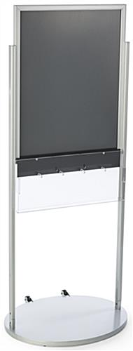 Silver 22 x 28 Movable Poster Stand with 5 Literature Compartments