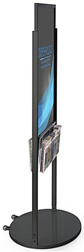 Black 24 x 36 Mobile Poster Display with 10 Literature Slots with PVC Inserts