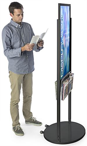 Black 24 x 36 Mobile Poster Display with 10 Literature Slots, Acrylic Holster