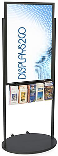 Black 24 X 36 Movable Poster Stand with 5 Literature Pockets for Visuals