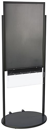 Black 24 X 36 Movable Poster Stand with 5 Literature Pockets