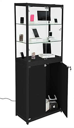 Portable Exhibition Cabinet : Mobile display cabinet glass tradeshow stand with