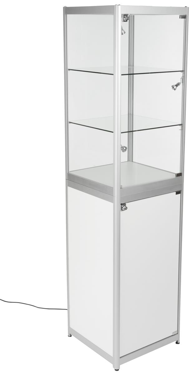 Portable Cabinet Light Ikea : Lighted trade show tower tempered glass display