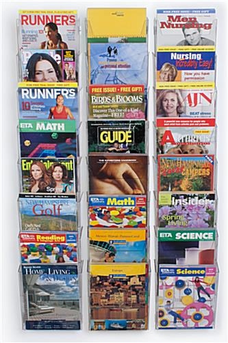 "Magazine Rack Wall Mounted for 8-1/2"" Wide Publications - (24) Half View Pockets"