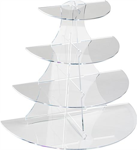 Clear Half Round Tiered Stand Easy Assembly 4 Shelf