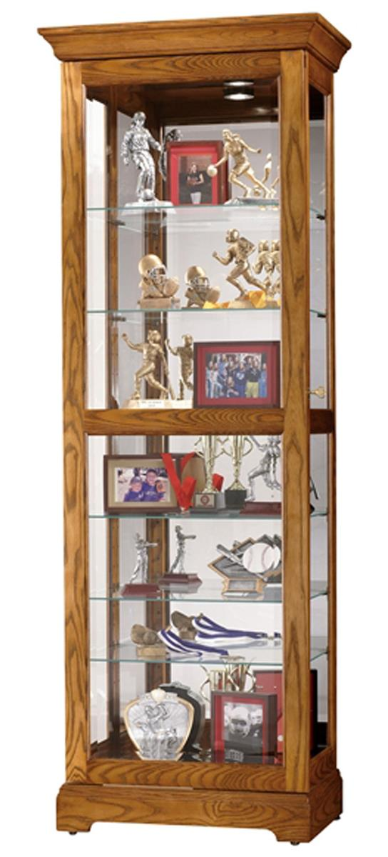This trophy case that is made of wood has a simple design