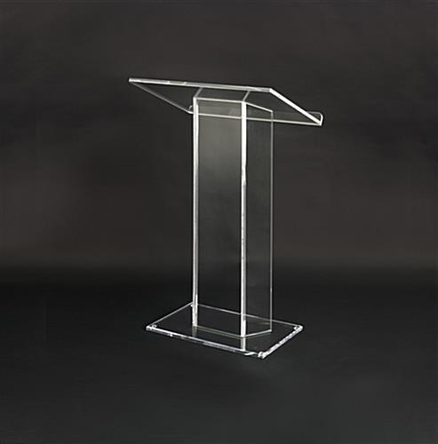 Clear Podium With Tablet Enclosure Floor Mounted Lecture
