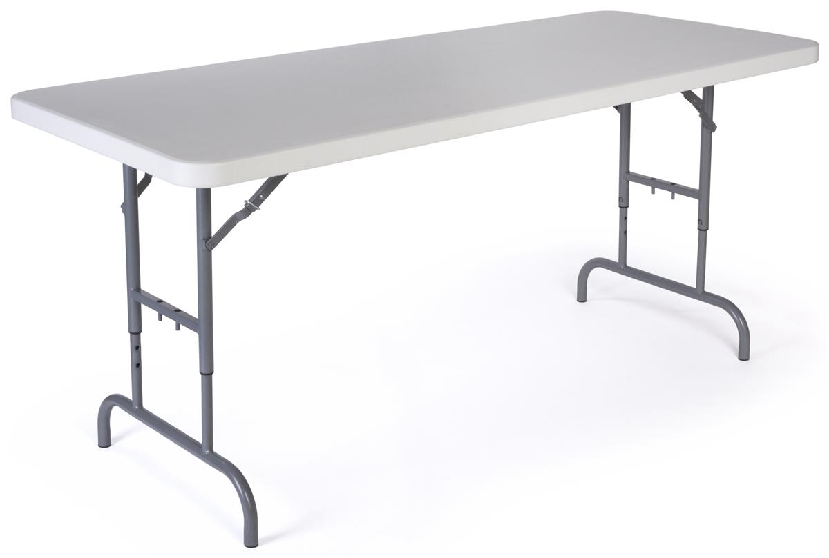 Tall foldable table 26 to 32 inches high white tabletop for Table 6 feet
