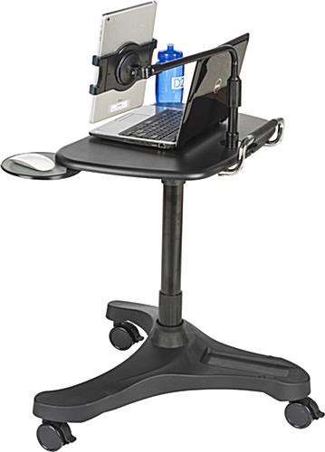 rolling ipad workstation with tablet holder height adjustable