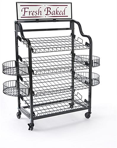 Black Wire Bakers Cart With Wheels Commercial Store Cart