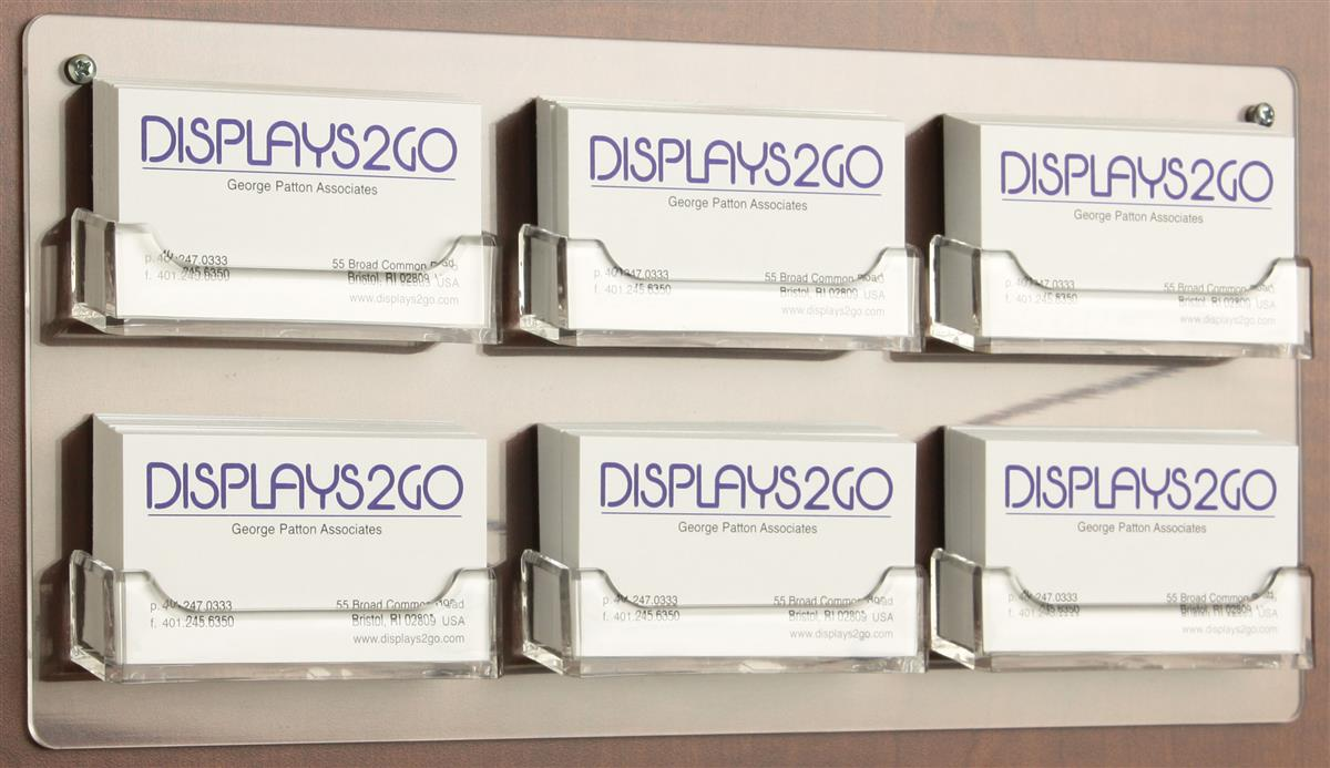 Wall mounted business card display plastic literature holder for Business card display frame