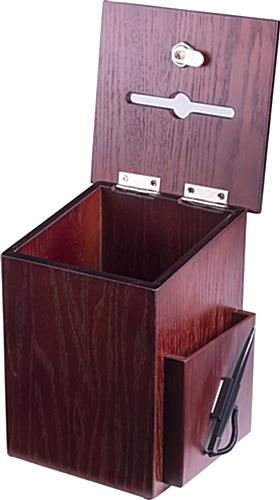 Wood Suggestion Boxes with Attached Security Pen
