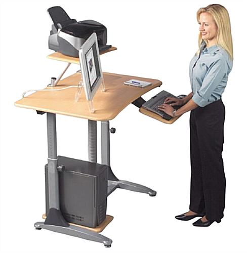 Adjustable Height Standing Desk with Printer Shelf