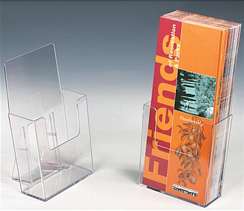 Plastic desktop flyer holder clear with front cutout for for Plastic flyer stand