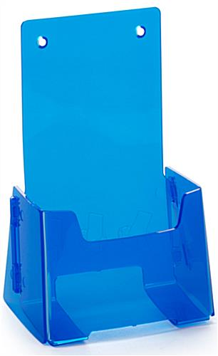 Blue Plastic Brochure Holder with Pre-Drilled Holes