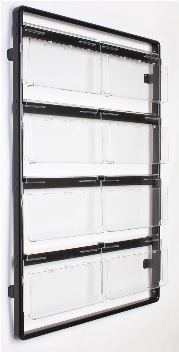 4 Tier Convertible Black Literature Rack Aluminum Wall Mount