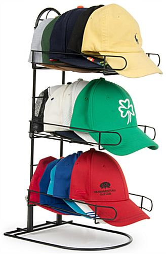 Countertop Fitted Hat Rack 3 Tier Black Wire