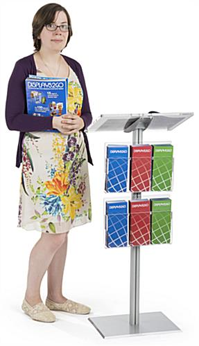 "44"" Silver Minimalist Lectern with Brochure Pockets"