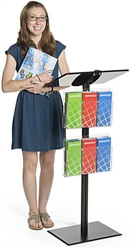 Black Minimalist Podium with Leaflet Pockets for Multiple Display Purposes