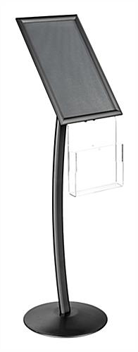 "11"" x 17"" Black Sign Stand with Magazine Pocket and Curved Post"