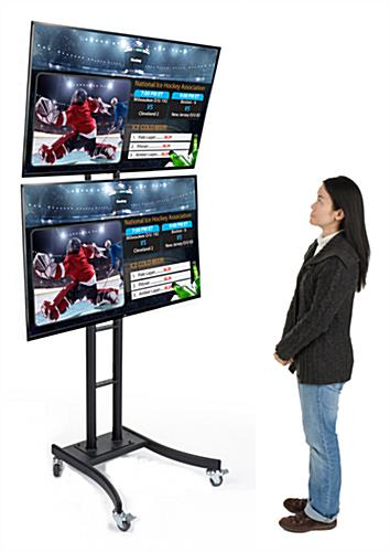 Dual Screen Stands With Advertising Tvs Cable Management