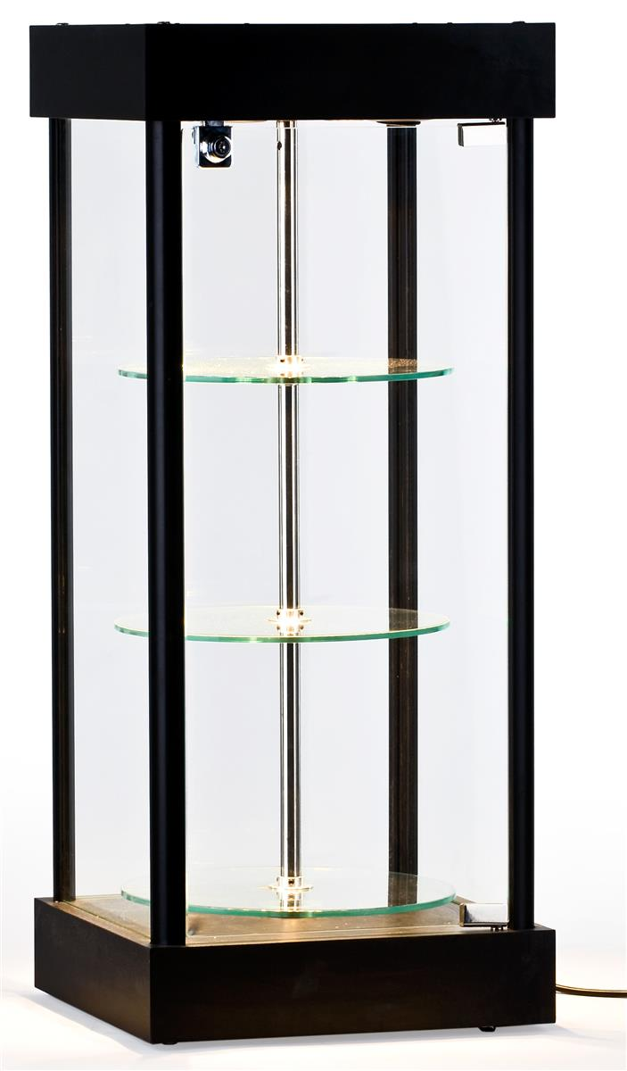 Electrical Cases With Shelves : Motorized countertop display cabinet quot h black mdf frame