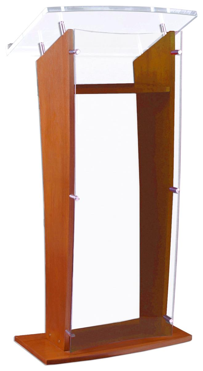 Modern Wood And Acrylic Podiums Clear Front Panel