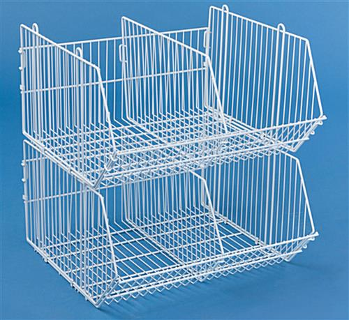 these wire storage baskets are versatile merchandise racks. Black Bedroom Furniture Sets. Home Design Ideas