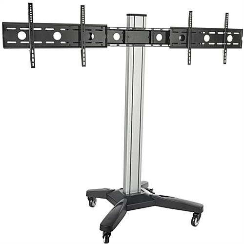 dual tv monitor stand mobile cart w cable management. Black Bedroom Furniture Sets. Home Design Ideas