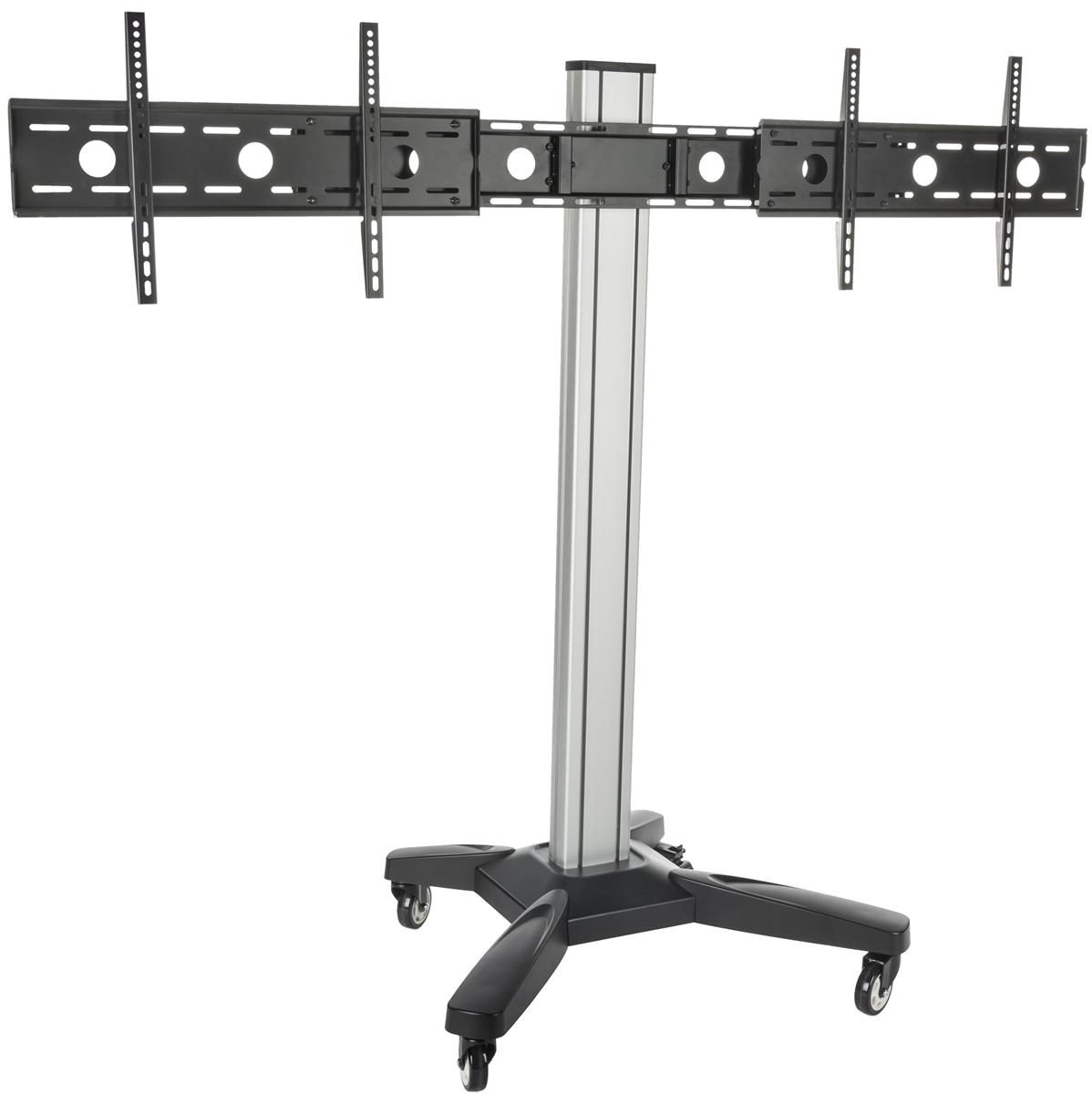 Dual Tv Monitor Stand Mobile Cart W Cable Management