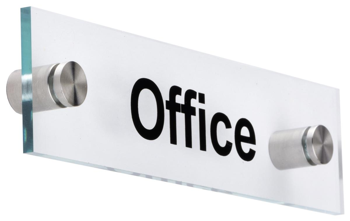 Professional Door Sign With Silver Standoffs Office Name