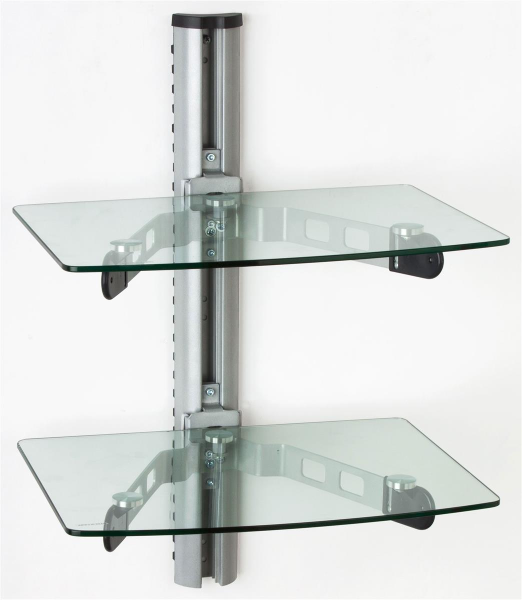 the monitor stands are glass shelves that hold various components perfect for placement below. Black Bedroom Furniture Sets. Home Design Ideas