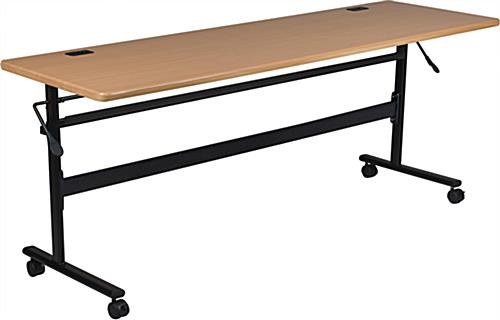 Teak Flipper Training Table with 4 Wheels