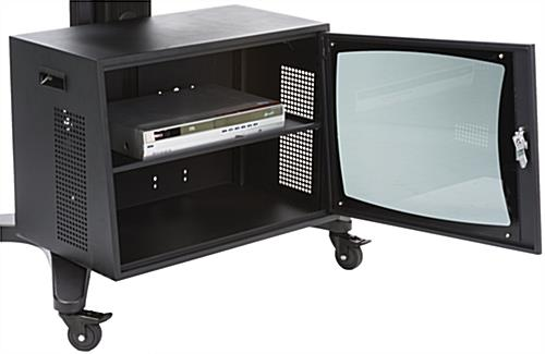 Rollable TV Stand with Locking Cabinet & Camera Shelf