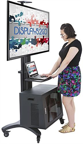 Rollable TV Stand with Locking Cabinet for Trade Shows